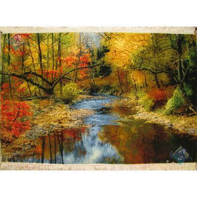 تابلو فرش دستباف تبریز منظره پاییز و رودخانه چله و گل ابریشم