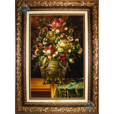 تابلو فرش دستباف تبریز گلدان گل تولیدی والا نامی  گل ابریشم