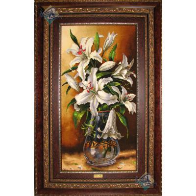 تابلو فرش دستباف تبریز گلدان ختمی چله و گل ابریشم