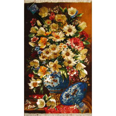 تابلو فرش دستباف تبریز گلدان و درب قندان گل ابریشم