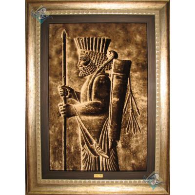 Tableau Carpet Handwoven Tabriz Achaemenid soldier Design