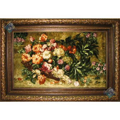 تابلو فرش دستباف تبریز طرح گل تولیدی کریمی نژاد شصتت رج