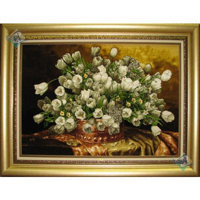 تابلو فرش دستباف تبریز طرح گلدان گل مسی لاله سفید