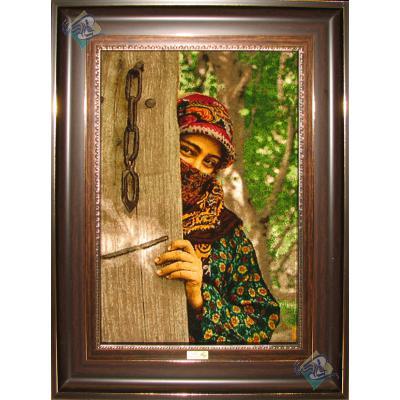 Tableau Carpet Handwoven Tabriz The girl is waiting  Design