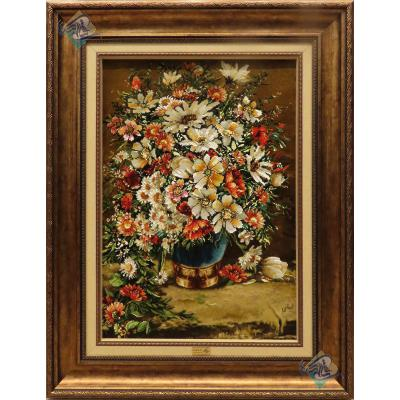 تابلو فرش دستباف تبریز طرح گلدان روی میز چله و گل ابریشم بدون قاب