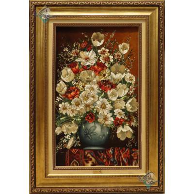 تابلو فرش دستباف تبریز طرح گلدان طولی و فرش چله و گل ابریشم