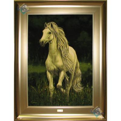 Tableau Carpet Handwoven Tabriz Horse standing Design