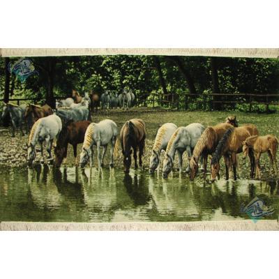 تابلو فرش دستباف تبریز طرح بزرگ گله اسب و رود خانه چله ابریشم