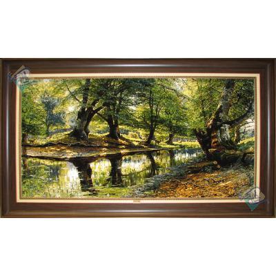 Tableau Carpet Handwoven Tabriz Scene of pond reflection  Design