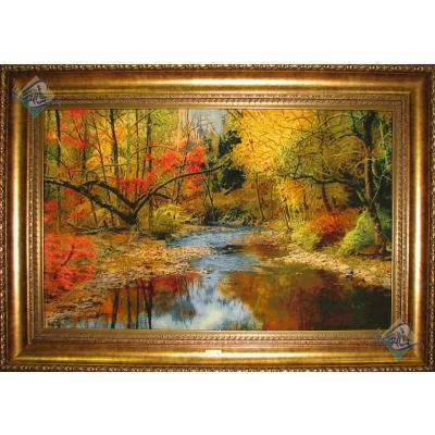 تابلو فرش دستباف تبریز طرح منظره پاییز و رودخانه چله و گل ابریشم