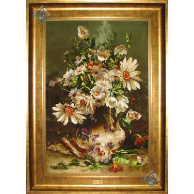 تابلو فرش دستباف تبریز طرح گلدان گل جدید چله و گل ابریشم