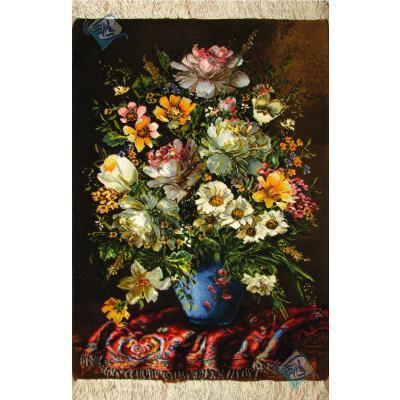 تابلو فرش دستباف تبریز طرح گلدان طولی وفرش چله و گل ابریشم