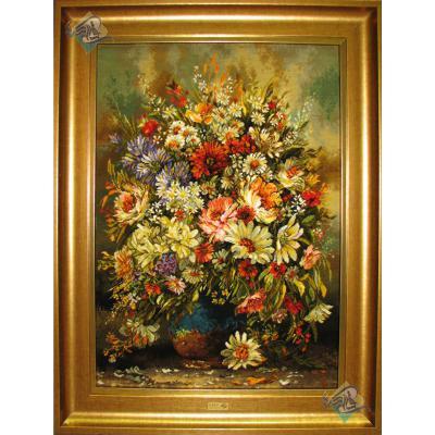 تابلو فرش دستباف تبریز طرح گلدان سفالی چله و گل ابریشم