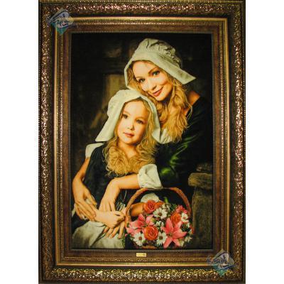 تابلو فرش دستباف تبریز طرح مهر مادر چله و گل ابریشم
