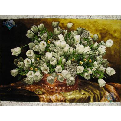 تابلو فرش دستباف تبریز طرح گلدان مسی لاله سفید  چله و گل ابریشم
