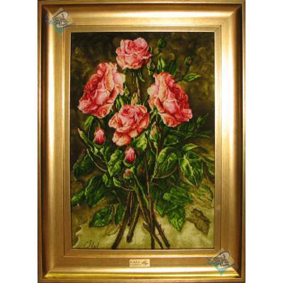 Tableau Carpet Handwoven Tabriz Four flower branches Design