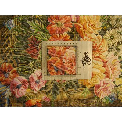 تابلو فرش دستباف تبریز طرح شمعدان و گل روی میز چله و  گل ابریشم  شعر باف