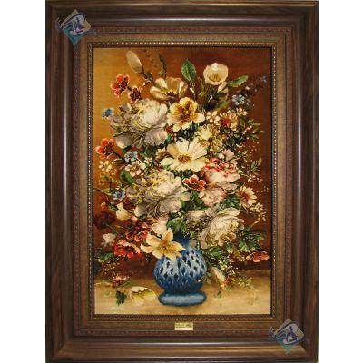 تابلو فرش دستباف تبریز طرح گلدان گل چله و گل ابریشم با قاب