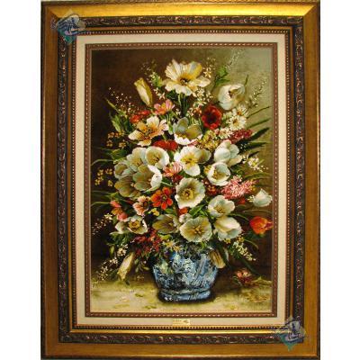تابلو فرش دستباف تبریز طرح گلدان گل لاله سفید چله و گل ابریشم پنجاه رج با قاب
