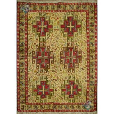 Zar-o-nim Kilim Handwoven Ardabil Silk