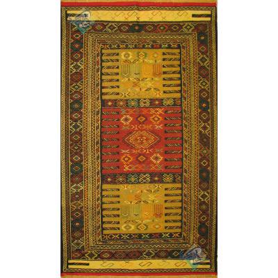 گلیم سوزنی قوچان قالیچه تمام پشم رنگ گیاهی دستباف