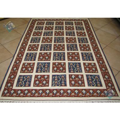 قالیچه دستباف گلیم سنندج نقشه خشتی پشم ریز اعلا باف